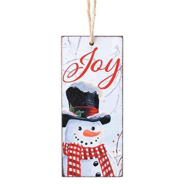 "Decoupaged wood tag shape ornament with snowman and Joy message. 5""H X 2 1/4""W; 8"" Hanging"
