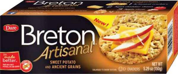 Enjoy the tender, crisp texture and delicious taste of Breton Artisanal, now made with ancient grains like quinoa and rye. With pieces of sweet potato baked right in they are ideal on their own or as part of the perfect appetizer or snack. 5.29 oz