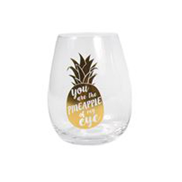 Gold Tropical Messages Stemless Wine Glass Add chic tropical style to your barware with these gold wine glasses! Stemless wine glass features witty sayings and tropical icons in gold metallic. Handwash only.