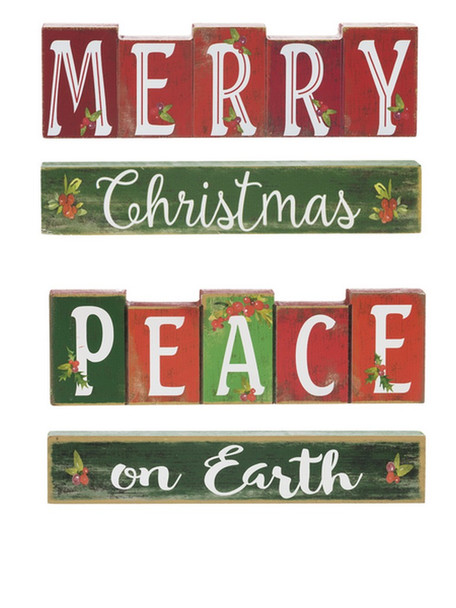 """Red and green wooden stacking blocks with """"Merry Christmas"""" or """"Peace on Earth"""" 7 1/2""""W. x 1 3/8""""D. x 3 5/8""""H.  Each set is sold individually."""