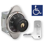 Zephyr ADA Key Controlled Built-In Combination Spring Latch Lock for Single Point or Box Lockers, Right Hand