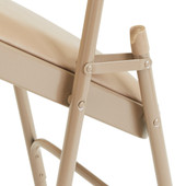 National Public Seating Premium Vinyl Upholstered Folding Chairs, 4/Carton - French Beige