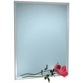 """ASI 0600 Series Plate Glass Mirror with Stainless Steel Inter-Lok Angle Frame - 16""""W x 20""""H"""