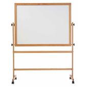 Marsh Mobile Reversible Boards, Oak Frame - Remarkaboard Whiteboard Both Sides, 4'H x 6'W