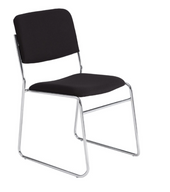 8600 Series Sled Base Stack Chair w/Fabric Upholstered Seat & Back, chrome frame, carton of 4