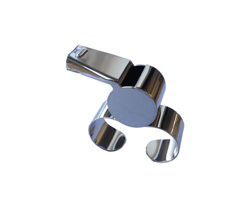 Steel finger grip whistle