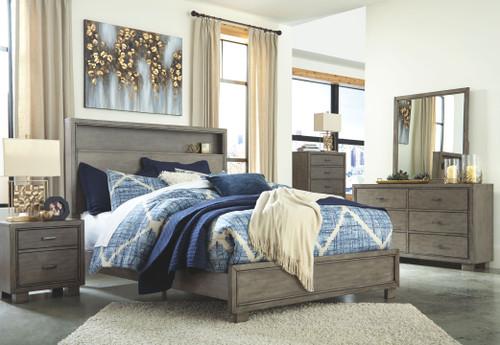Arnett Gray 7 Pc. Dresser, Mirror, Chest, Queen Storage Bed & 2 Nightstands