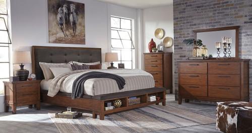 Ralene Medium Brown 5 Pc. Dresser, Mirror & Queen Upholstered Panel Bed