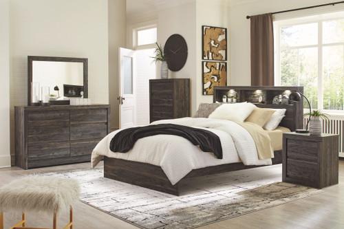 Vay Bay Charcoal 6 Pc. Dresser, Mirror, Queen Bookcase Panel Bed & Nightstand
