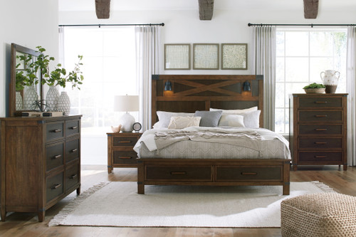 Wyattfield Two-tone 5 Pc. Dresser, Mirror, Queen Panel Bed with 2 Storage Drawers