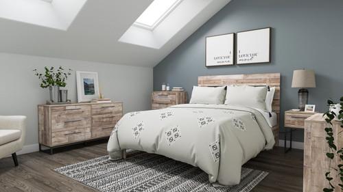 Neilsville Whitewash 6 Pc. Dresser, Four Drawer Chest, Three Drawer Chest, Queen Platform Bed, Nightstand