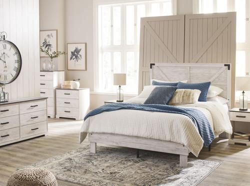 Shawburn White/Dark Charcoal Gray 7 Piece Dresser, Five Drawer Chest, Three Drawer Chest, Queen Panel Platform Bed, 2 Nightstands