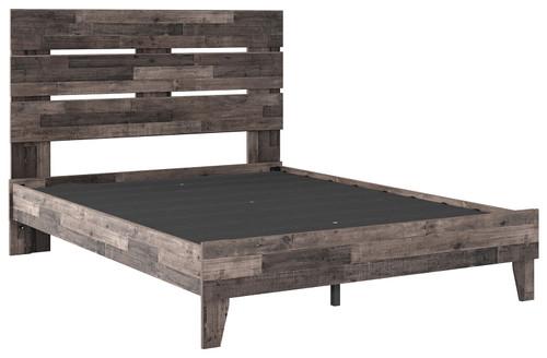 Neilsville Multi Gray Queen Panel Platform Bed