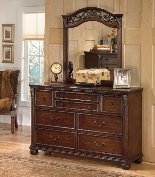 Leahlyn Warm Brown Dresser & Mirror