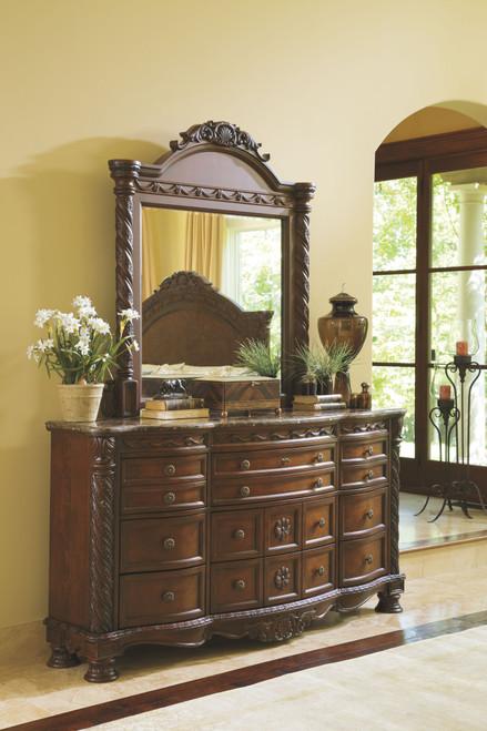 North Shore Dark Brown Dresser & Mirror