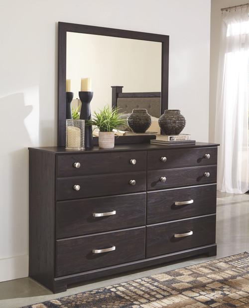 Reylow Dark Brown Dresser & Mirror
