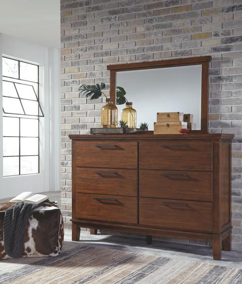 Ralene Medium Brown Dresser & Mirror