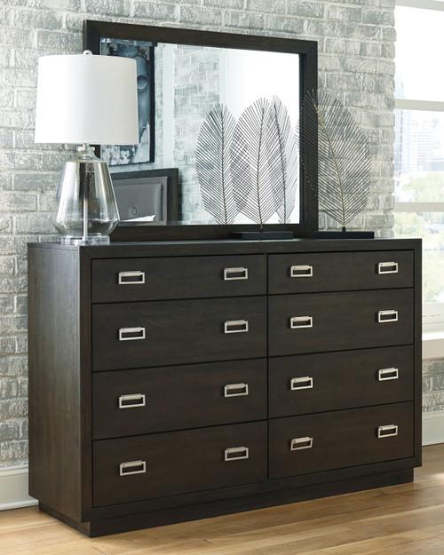 Hyndell Dark Brown Dresser & Mirror