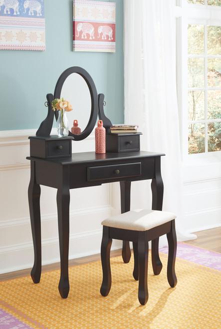 Huey Vineyard Black Vanity/Mirror/Stool (3/CN)