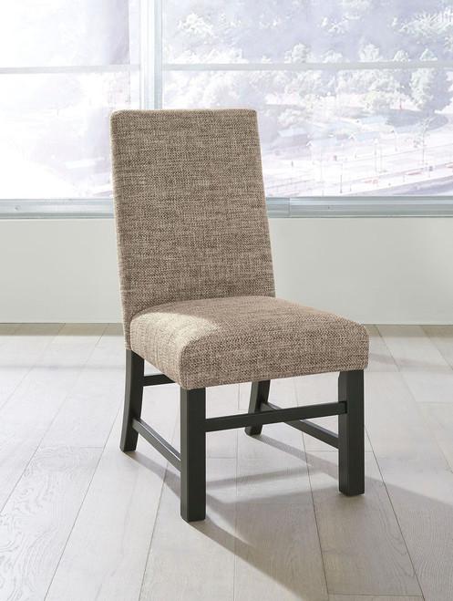 Sommerford Black/Brown Dining Upholstered Side Chair (Set of 2)