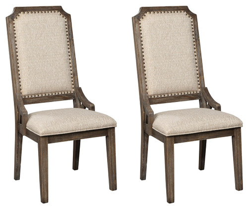 Wyndahl Rustic Brown Dining Upholstered Side Chair (Set of 2)