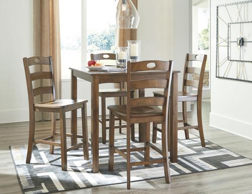 Hazelteen Medium Brown Square Counter Table Set (5/CN)