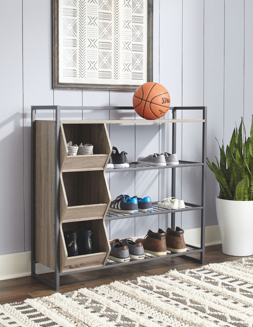 Maccenet Gray Shoe Rack