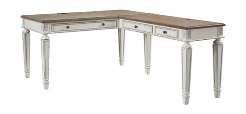 Realyn White/Brown Home Office Desk Return