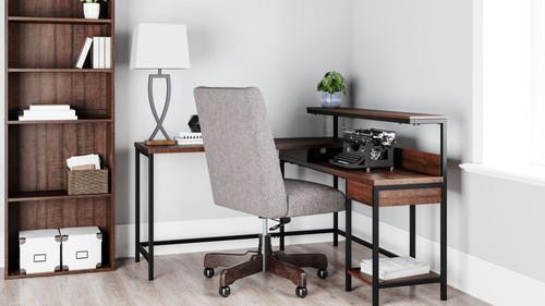 Camiburg Warm Brown L-Desk with Storage, Bookcase & Swivel Desk Chair