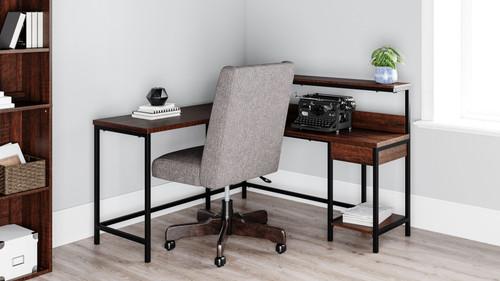 Camiburg Warm Brown L-Desk with Storage & Swivel Desk Chair