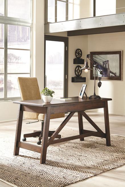 Baldridge Rustic Brown Large Leg Desk & Upholstered Swivel Desk Chair