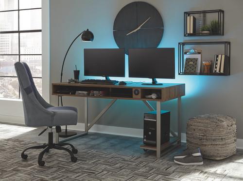 Barolli Gunmetal 2 Pc. Gaming Desk, Swivel Gaming Chair