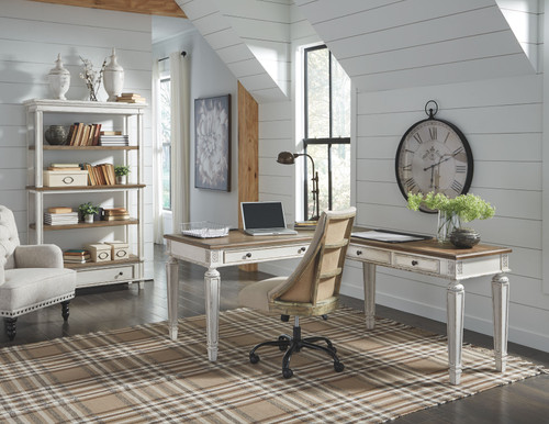Realyn White/Brown Home Office L Shaped Desk, Swivel Desk Chair & Bookcase