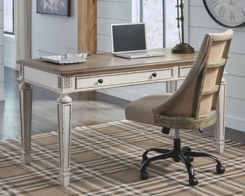 Realyn White/Brown Home Office Desk & Swivel Desk Chair