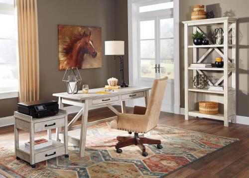 Carynhurst Whitewash Home Office Large Leg Desk, Printer Stand, Bookcase & Baldridge Swivel Chair