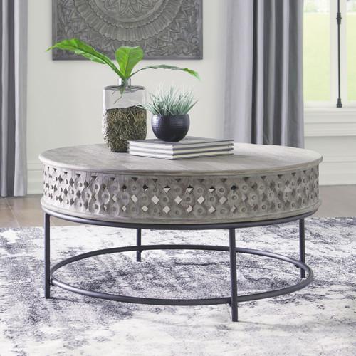 Rastella Gray/Black Round Cocktail Table