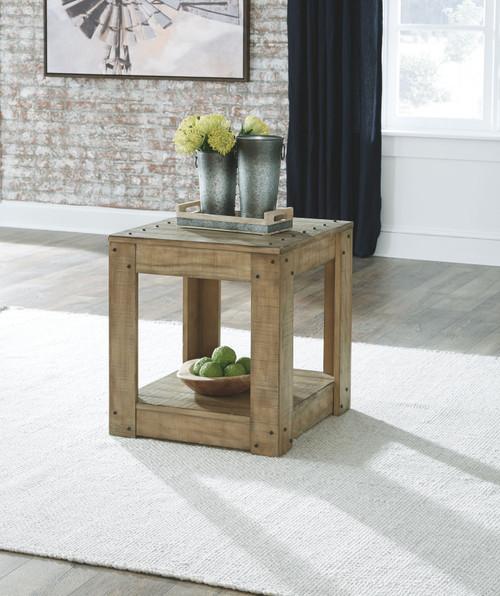 Lindalon Light Brown Rectangular End Table