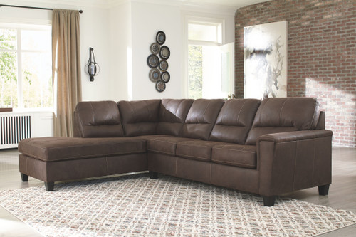 Navi Chestnut 2-Piece Sleeper Sectional with Chaise