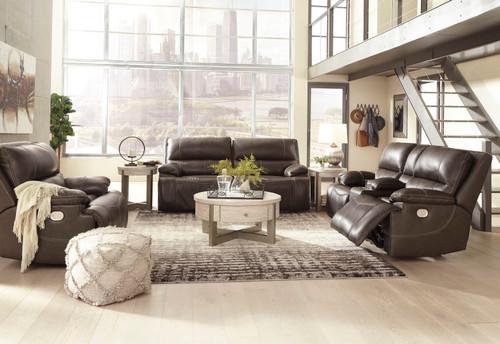 Ricmen Walnut 2 Seat Power Reclining Sofa ADJ HDRST, Power Reclining Loveseat with ADJ HDRST & Wide Seat Power Recliner