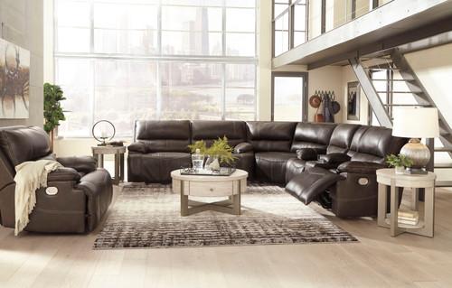 Ricmen Walnut 2 Seat Power Reclining Sofa ADJ HDRST, Wedge, Power Reclining Loveseat with ADJ HDRST Sectional & Wide Seat Power Recliner