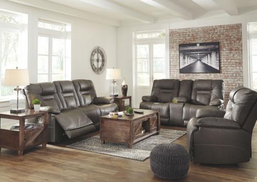 Wurstrow Smoke Power Reclining Sofa with ADJ HDRST, Power Reclining Loveseat with CON/ADJ HDRST & Power Recliner/ADJ HDRST