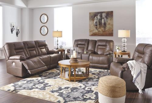 Wurstrow Umber Power Reclining Sofa with ADJ HDRST, Power Reclining Loveseat with CON/ADJ HDRST & Power Recliner/ADJ HDRST
