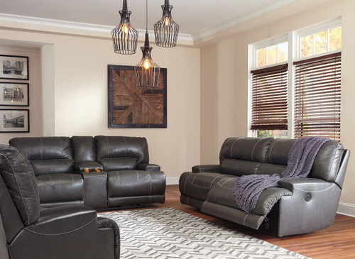 McCaskill Gray 2 Seat Reclining Power Sofa, Double Reclining Power Loveseat with Console & Wide Seat Power Recliner