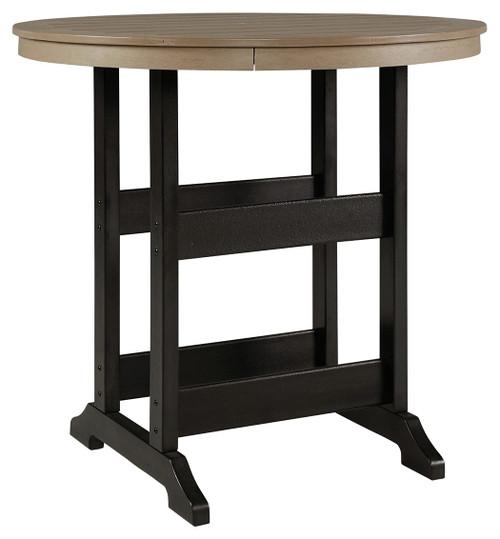 Fairen Trail Black/Driftwood Round Bar Table w/UMB OPT