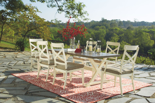 Preston Bay Antique White Dining Set with 4 Chairs & 2 Arm Chairs