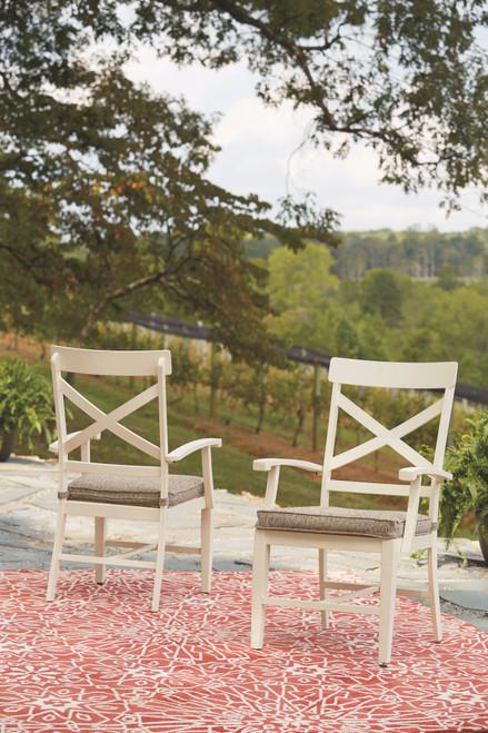 Preston Bay Antique White Arm Chair With Cushion