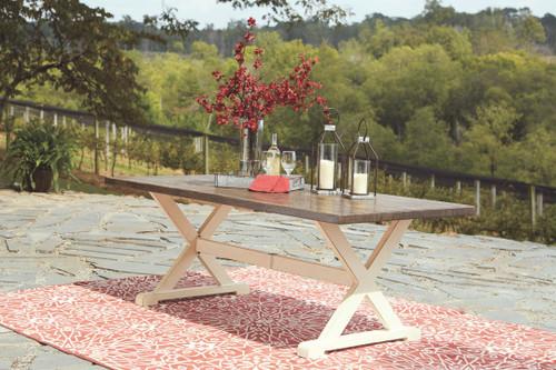 Preston Bay Antique White Rectangular Dining Table w/UMB OPT