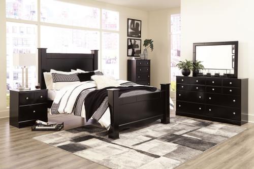 Mirlotown Almost Black 6 Pc. Dresser, Mirror, King Poster Bed
