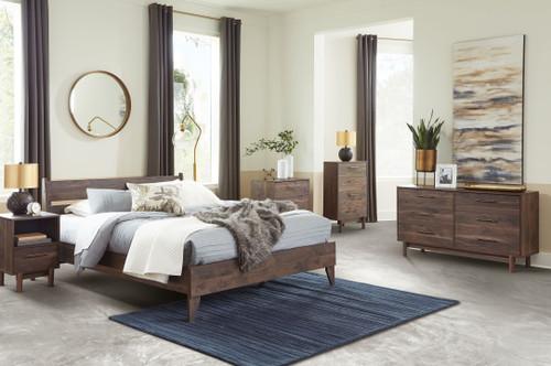 Calverson Mocha 6 Pc. Dresser, Three Drawer Chest, Four Drawer Chest, Queen Panel Platform Bed, Nightstand