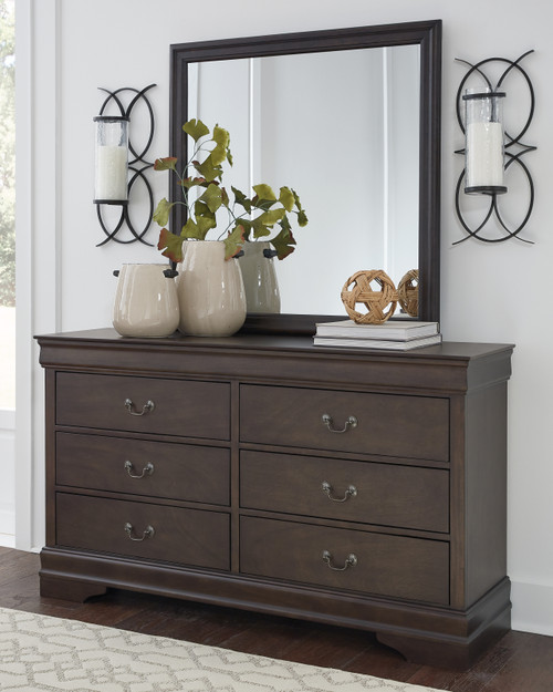 Leewarden Dark Brown Dresser, Mirror
